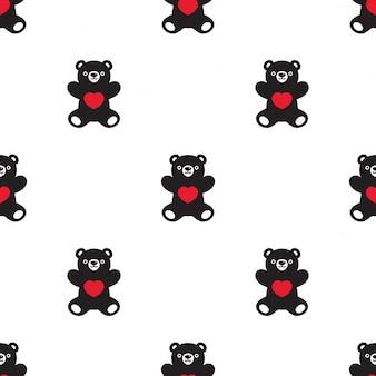 Oso de patrones sin fisuras corazón valentine teddy