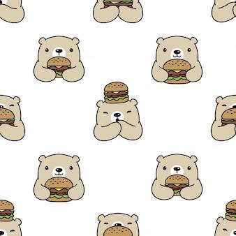 Oso de patrones sin fisuras polar hamburguesa ilustración cartoon