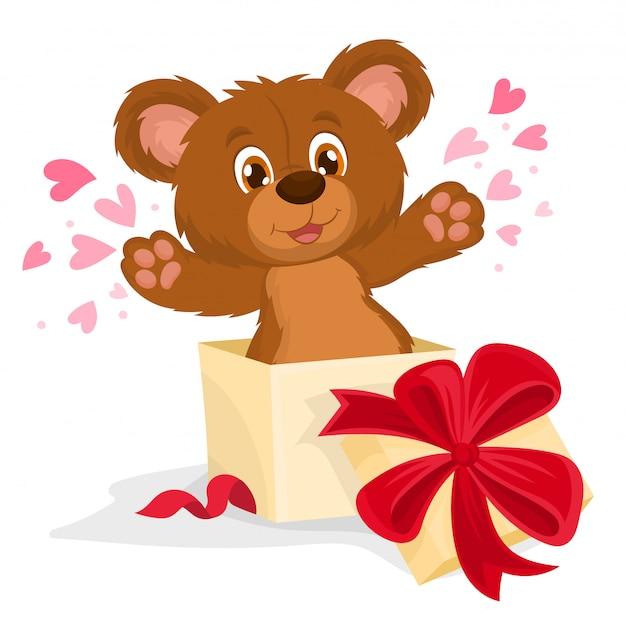 Oso de peluche dentro de una caja de regalo