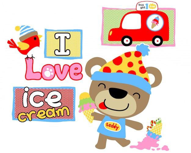 Oso de peluche de dibujos animados amor helado