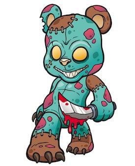 Oso de peluche de dibujos animados zombie