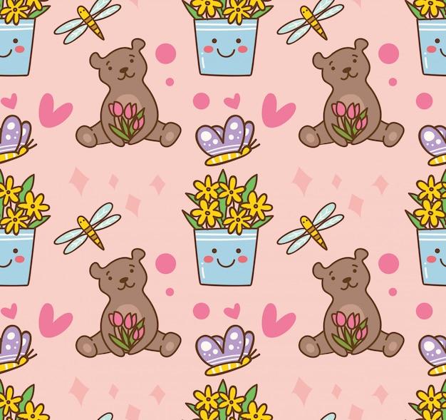 Oso de peluche y flores de patrones sin fisuras