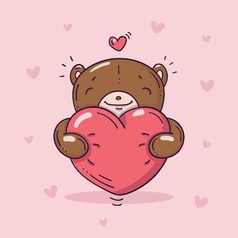 Oso de peluche con gran corazón rojo en estilo doodle con corazones