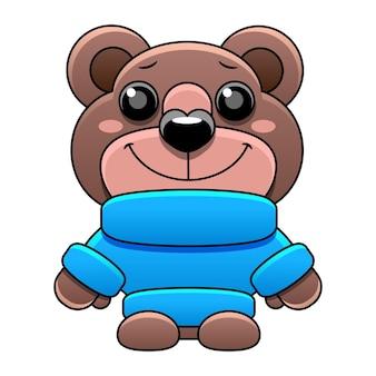 Oso de peluche de juguete en una ilustración de estilo de dibujos animados de suéter azul