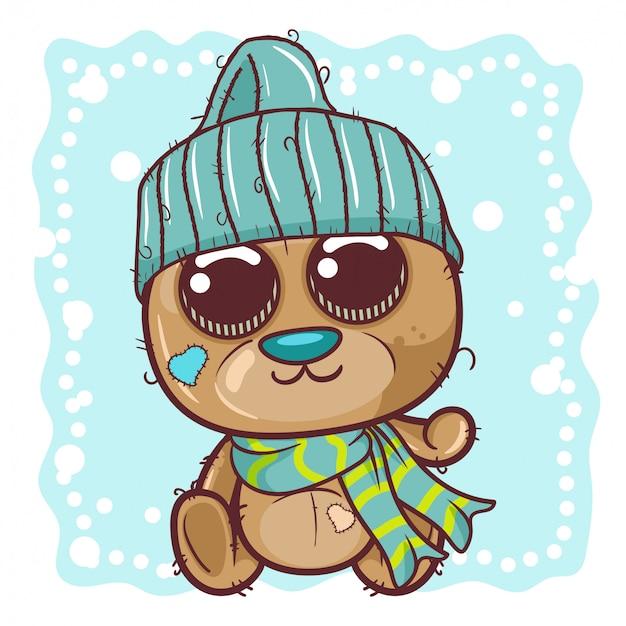 El oso de peluche lindo de la historieta en un casquillo hecho punto se sienta en una nieve - vector