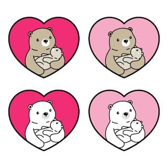 Oso personaje de dibujos animados polar baby heart valentine