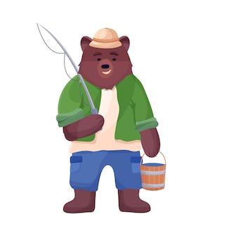 Oso personaje pescador sosteniendo un cubo de pescado y caña de pescar en un sombrero, pantalones cortos y camisa.