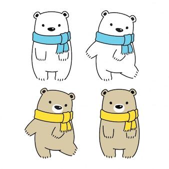 Oso polar, caricatura, ilustración