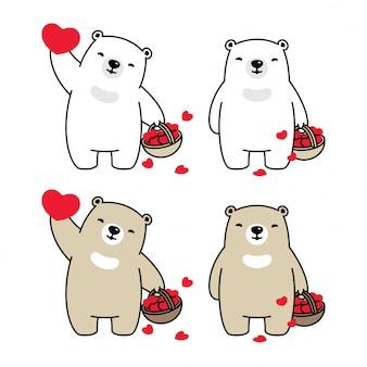 Oso polar corazón cesta san valentín dibujos animados