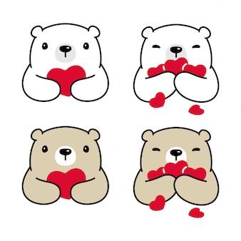 Oso polar corazón cesta san valentín ilustración de dibujos animados