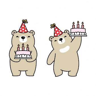 Oso polar cumpleaños pastel fiesta dibujos animados