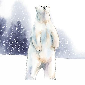Oso polar dibujado a mano en el vector de estilo acuarela de nieve