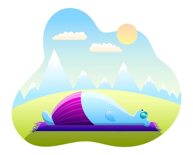 Oso polar con gafas yace sobre una alfombra en la naturaleza en estilo plano de dibujos animados