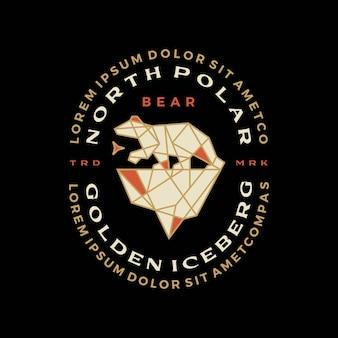 Oso polar ice berg insignia geométrica camiseta tee merch logo vector icono ilustración