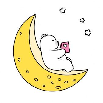 Oso polar, luna, libro de lectura, caricatura