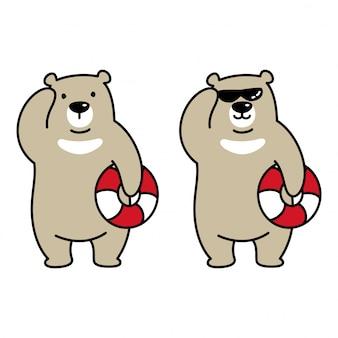 Oso polar, natación, anillo, caricatura, ilustración