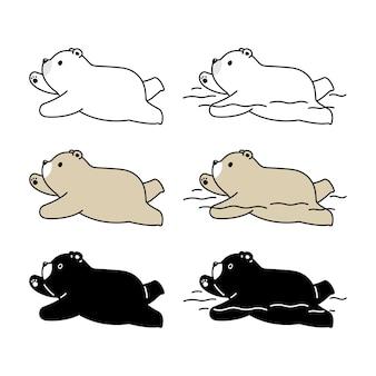 Oso polar natación teddy icono de personaje de dibujos animados