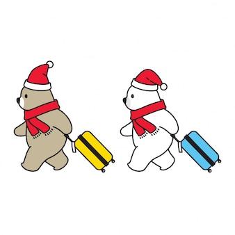 Oso polar navidad santa claus dibujos animados viajero bolsa