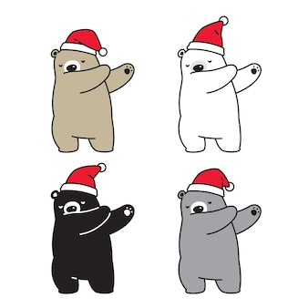 Oso polar navidad santa claus hat dab dance personaje de dibujos animados