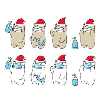 Oso polar navidad santa claus mascarilla covid 19 personaje de dibujos animados