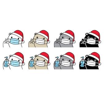Oso polar navidad santa claus sombrero mascarilla ilustración