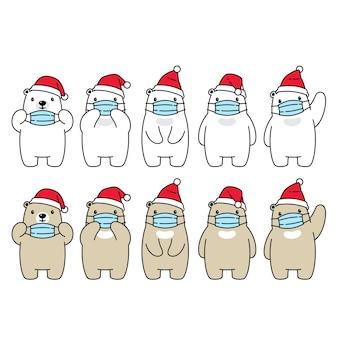 Oso polar navidad santa claus sombrero mascarilla