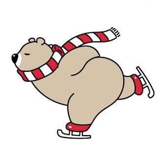 Oso polar patinaje sobre hielo ilustración cartoon