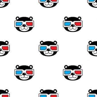 Oso polar sin patrón 3d gafas película ilustración