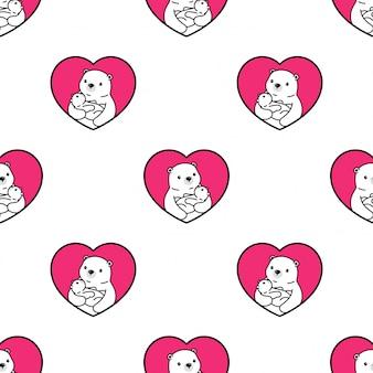 Oso polar de patrones sin fisuras bebé abrazo ilustración de dibujos animados
