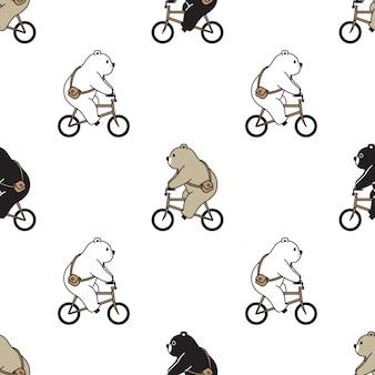 Oso polar de patrones sin fisuras bicicleta ilustración