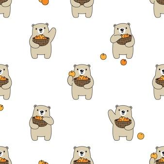 Oso polar de patrones sin fisuras cesta de frutas naranja dibujos animados de peluche