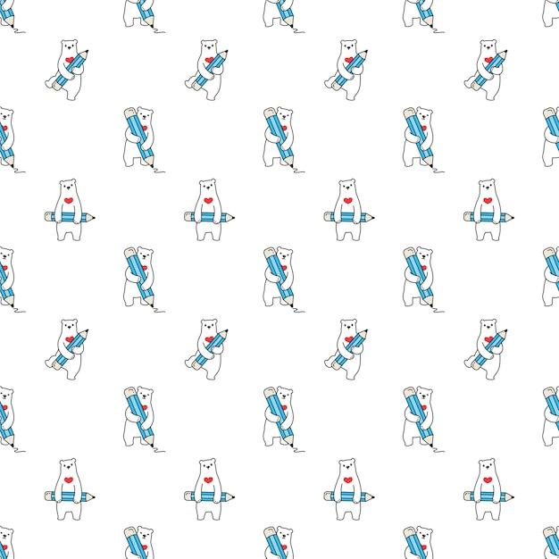 Oso polar de patrones sin fisuras corazón lápiz personaje de dibujos animados