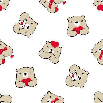 Oso polar de patrones sin fisuras corazón san valentín ilustración