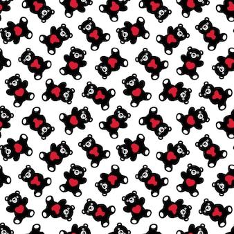 Oso polar de patrones sin fisuras corazón teddy dibujos animados ilustración