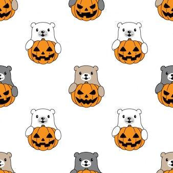 Oso polar de patrones sin fisuras dibujos animados de calabaza de halloween