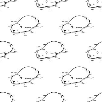 Oso polar de patrones sin fisuras durmiendo