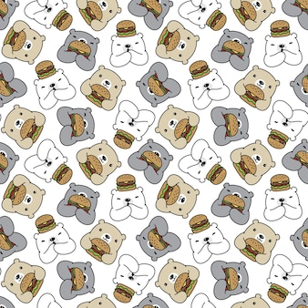 Oso polar de patrones sin fisuras hamburguesa teddy cartoon