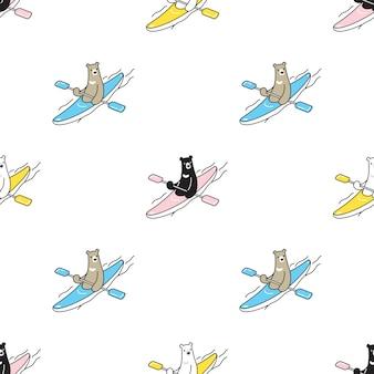 Oso polar de patrones sin fisuras kayak ilustración de dibujos animados