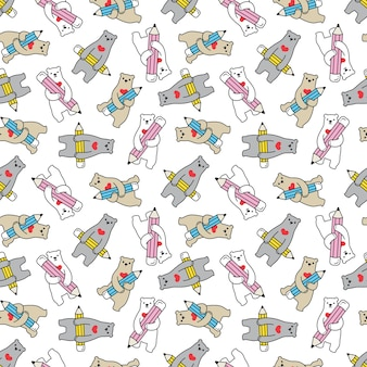 Oso polar de patrones sin fisuras lápiz osito