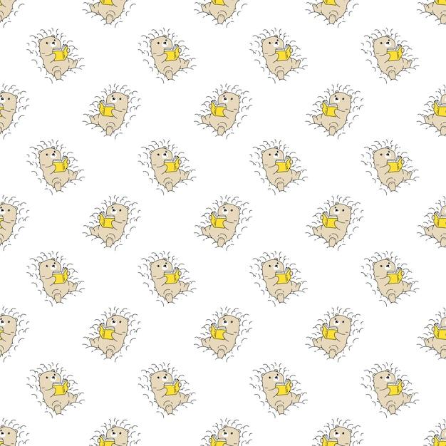 Oso polar de patrones sin fisuras leyendo libro personaje de dibujos animados