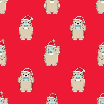 Oso polar de patrones sin fisuras mascarilla navidad santa claus