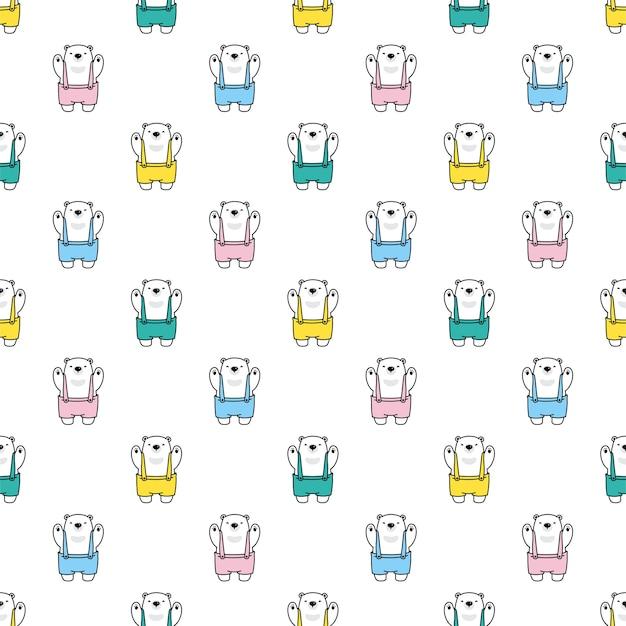 Oso polar de patrones sin fisuras monos personaje de dibujos animados