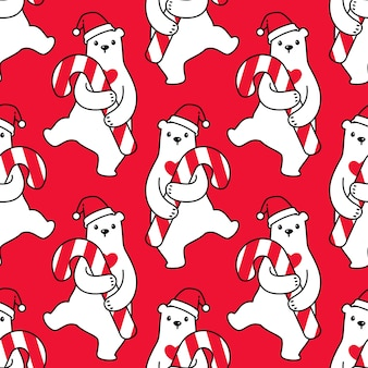 Oso polar de patrones sin fisuras navidad santa claus bastón de caramelo