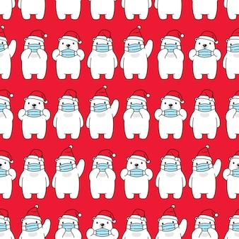 Oso polar de patrones sin fisuras navidad santa claus mascarilla covid19