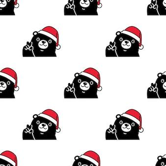 Oso polar de patrones sin fisuras navidad santa claus sombrero