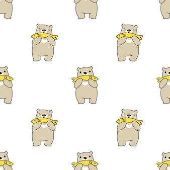 Oso polar de patrones sin fisuras peces dibujos animados ilustración