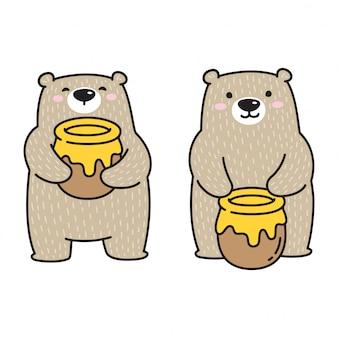 Oso polar sosteniendo un tarro de miel