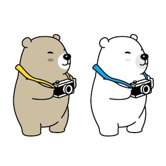Oso vector de dibujos animados de la cámara polar