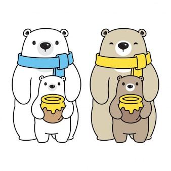 Oso vector de dibujos animados de la familia de miel oso polar