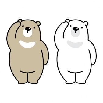 Oso vector de dibujos animados de oso polar